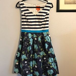 NWOT ModCloth Navy Stripped & Floral Dress MED